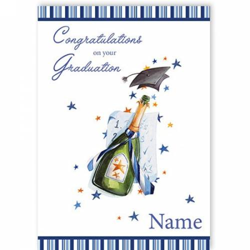 Blue Champagne & Mortarboard Congratulations On Your Graduation Card
