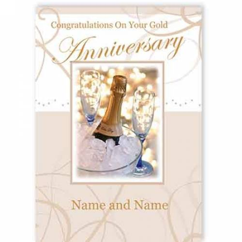 Congratulations On Your Gold Anniversary Name And Name Card