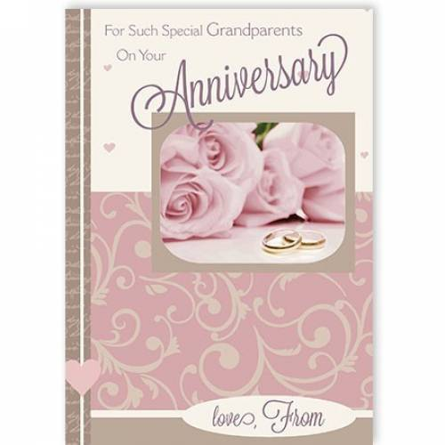 Special Grandparents Pink Roses Anniversary Card