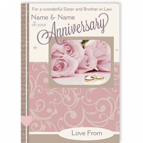 Pink Roses For A Wonderful Sister And Brother In Law On Your Anniversary Card
