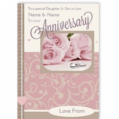 To A Special Daughter And Son In Law Pink Roses On Your Anniversary Card