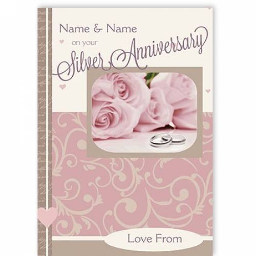 Pink Roses Silver Anniversary Card