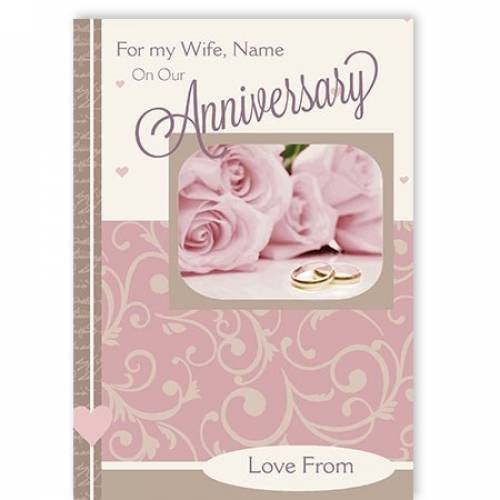 Pink Roses For My Wife On Our Anniversary Card