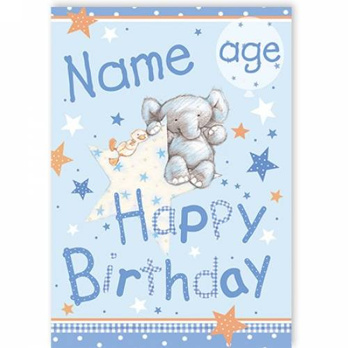 Elephant Age Happy Birthday Card