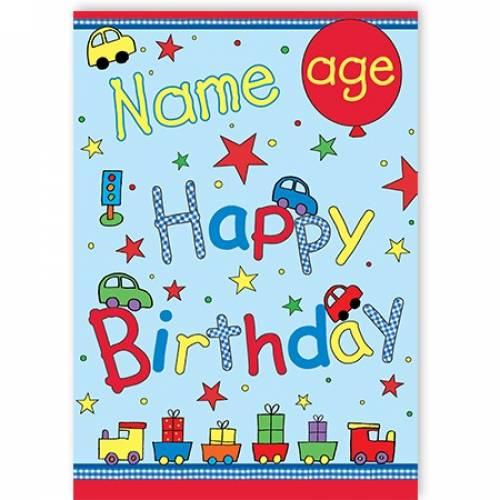 Car Stars Age Happy Birthday Card