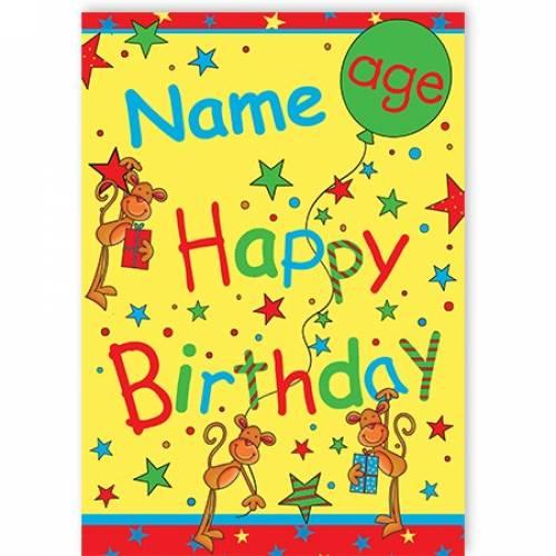 Stars Monkey Age Happy Birthday Card