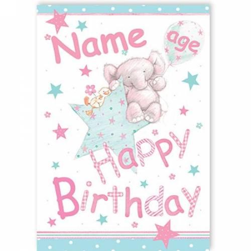 Elephant Star Age Happy Birthday Card