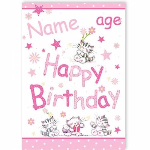 Kittens Stars Age Happy Birthday Card