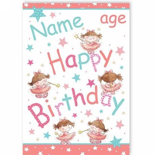 Fairies Name Happy Birthday Card