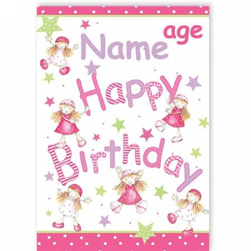 Pink Fairies Happy Birthday Card