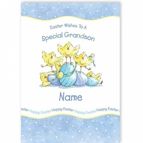Easter Wishes To A Special Grandson Name Card