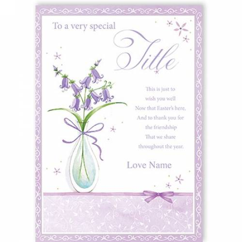 To A Very Special Title Bluebells Easter Card