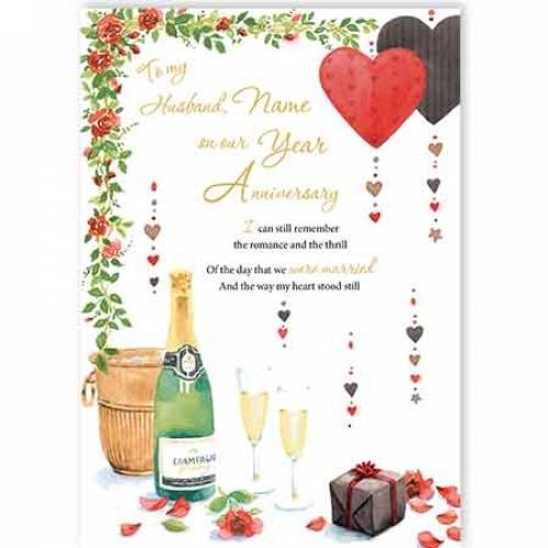 To My Husband On Our Year Champagne Anniversary Card