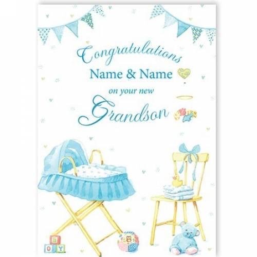 Congratulations Blue Pram New Grandson Card