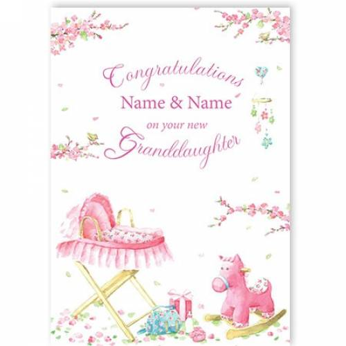 Congratulations Pink Pram New Granddaughter Card