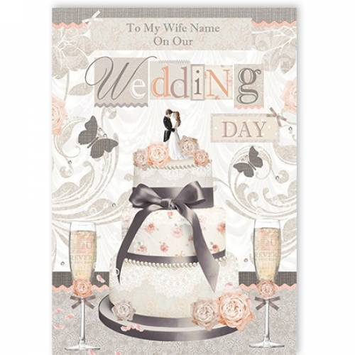 To My Wife Cake Wedding Day Card