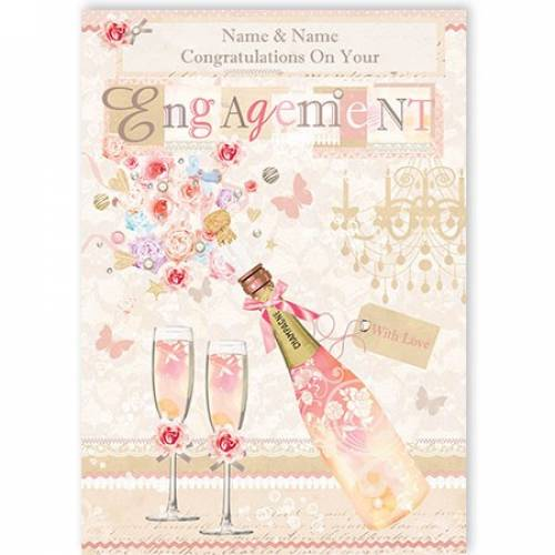 Champagne And Glasses Engagement Card