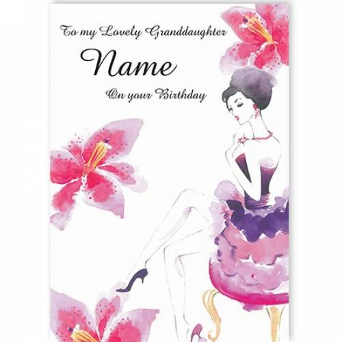 To My Lovely Granddaughter Name Dancer On Your Birthday Card