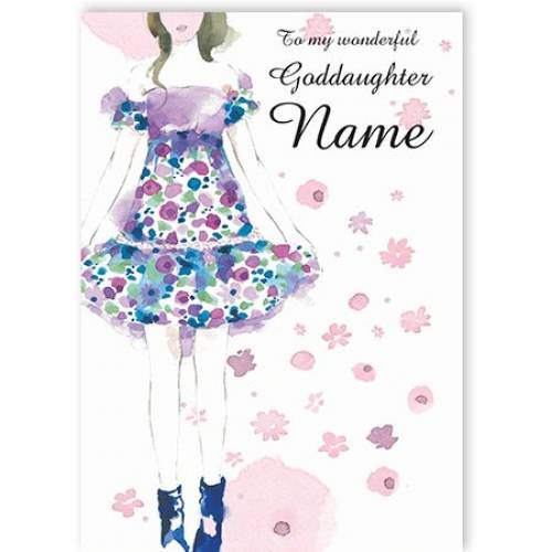 To My Wonderful Goddaughter Flower Dress Name  Card