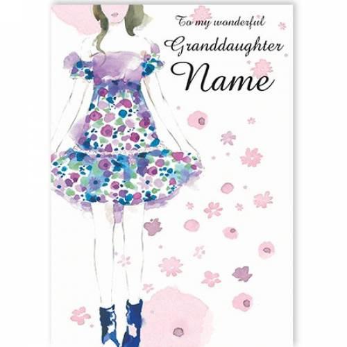 To My Wonderful Granddaughter Flower Dress  Card