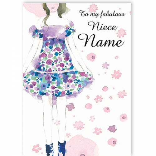 To My Fabulous Flower Dress Niece Name Card