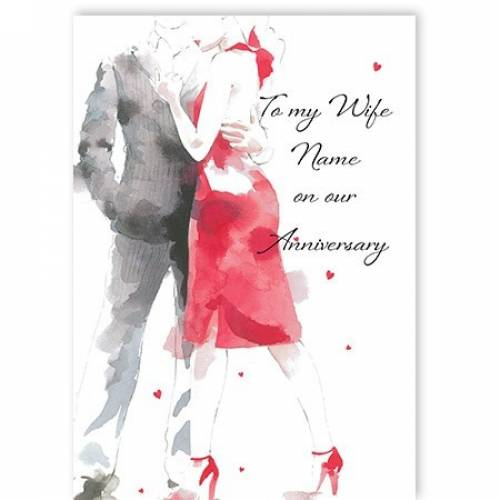 To My Wife Red Dress On Our Anniversary Card