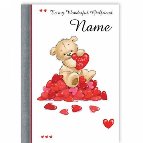 To My Wonderful Girlfriend Name Teddy Bears Hearts Card
