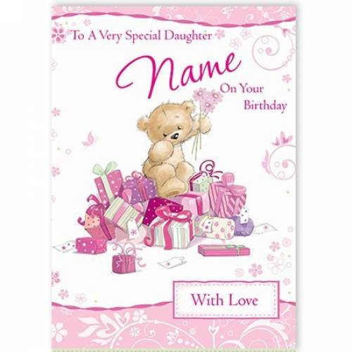 Special Daughter On Your Birthday Pink Teddy Card