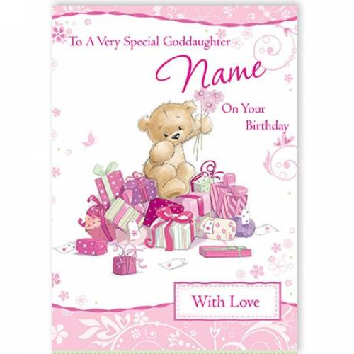 Special Goddaughter On Your Birthday Pink Teddy Card