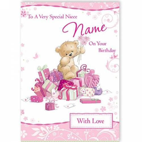 Special Niece On Your Birthday Pink Teddy Card