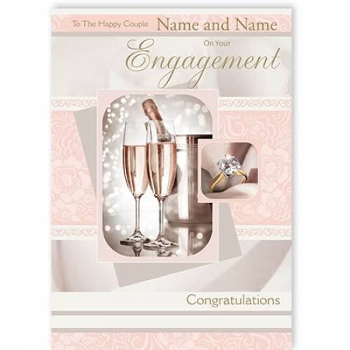 Pink Champagne On Your Engagement Card