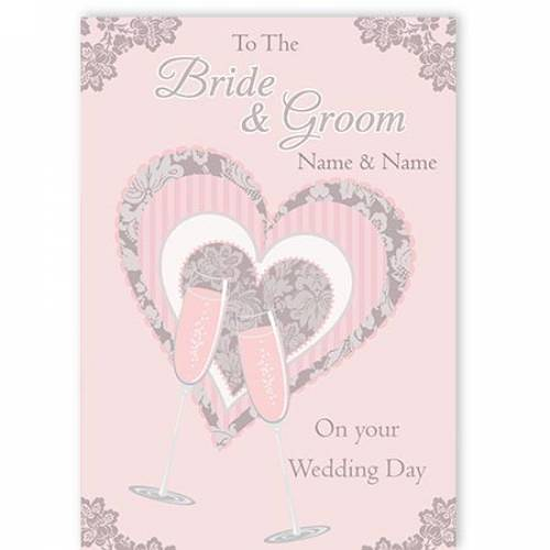 To The Bride And Groom Champagne Flutes Illustration On Your Wedding Day Card