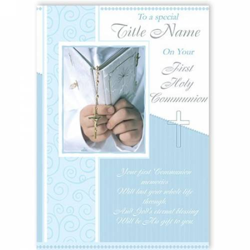 To A Special Name Blue On Your First Holy Communion Card