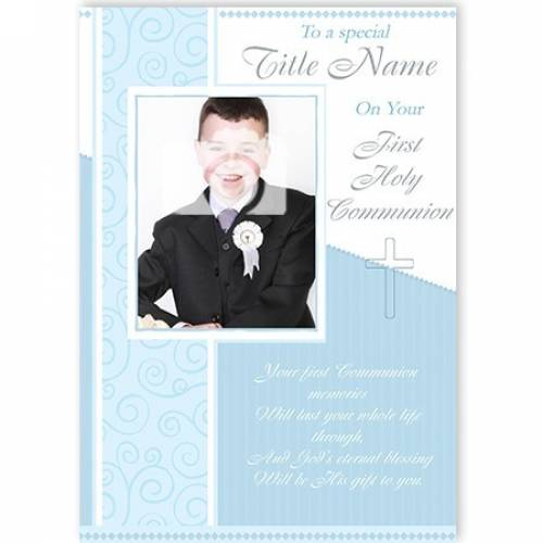 To A Title Name Photo Boy Blue Card