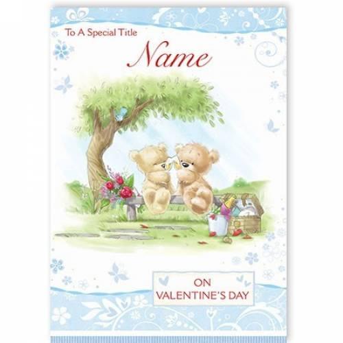 Teddy Bears On Valentines Day Card
