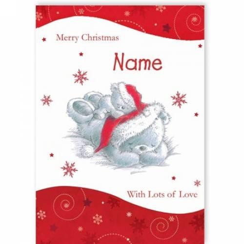 Grey Cute Teddy Bears Merry Christmas Card