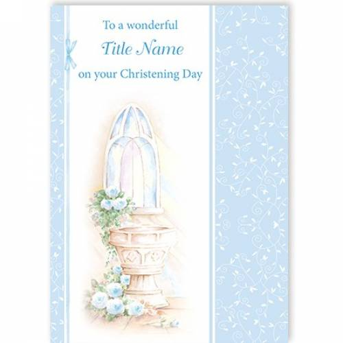 Christening Day Water Font Blue Card