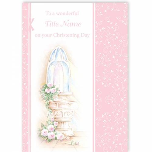 Christening Water Font Girl Card