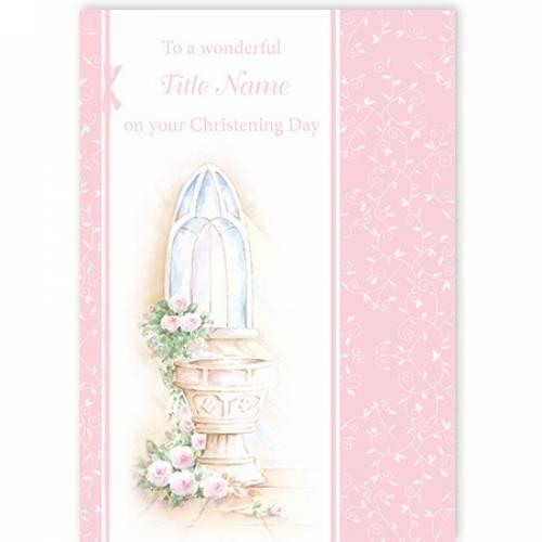 Christening Water Font Girl Card