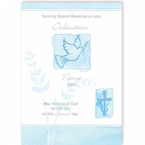 Dove God Be With You Ordination Card