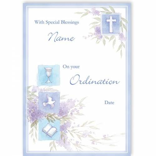 Chalice Dove Book Ordination Card