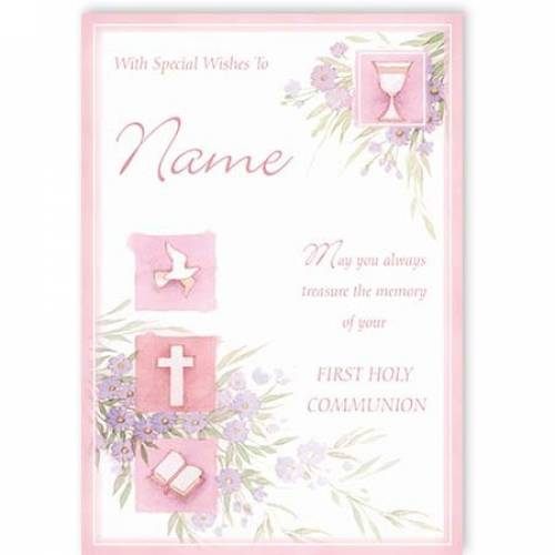 Dove Cross Book Girl First Holy Communion Card