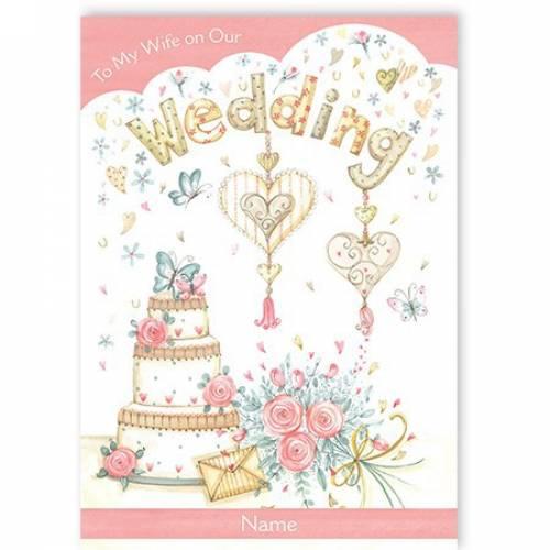 Hearts And Cake Wife Wedding Card