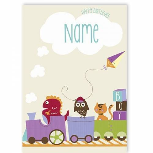 Train And Owl Birthday Card