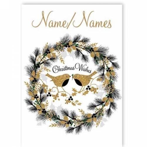 Christmas Wishes Robin Wreath Card