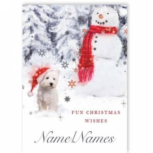 Christmas Snowman And Terrier Card