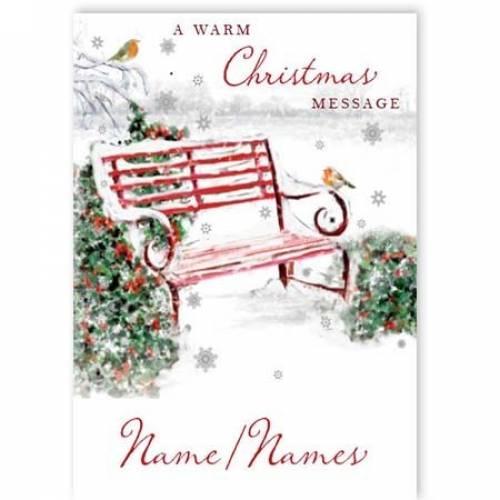 Christmas Park Bench Robin Card