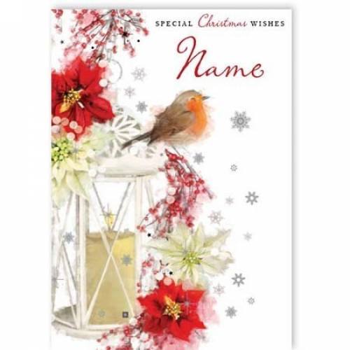Christmas Lantern Robin Poinsettia Card