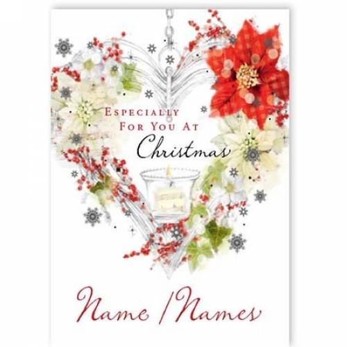 Christmas Decorated Heart Wreath Card