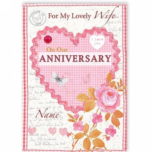 Anniversary Heart And Flowers Card